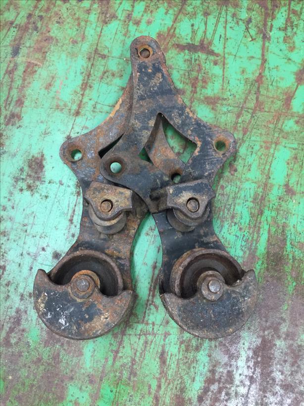 2 Antique Industrial Door Pulleys & Rail