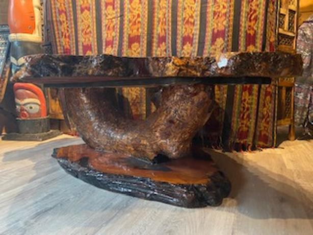 Vintage Fir Burl Table with Burl Base
