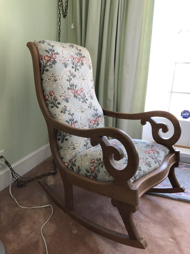 Beautiful wooden rocking chair and stool