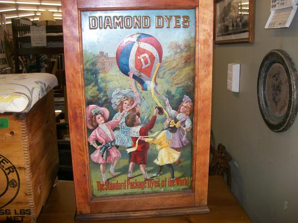 "Antique Diamond Dyes Advertising Store Cabinet ""Children with Balloons"""