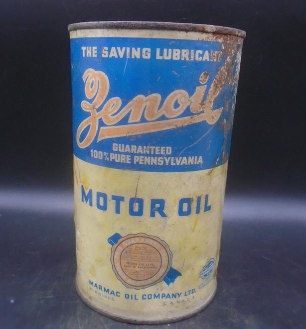 RARE 1930's VINTAGE ZENOIL MOTOR OIL IMPERIAL QUART CAN