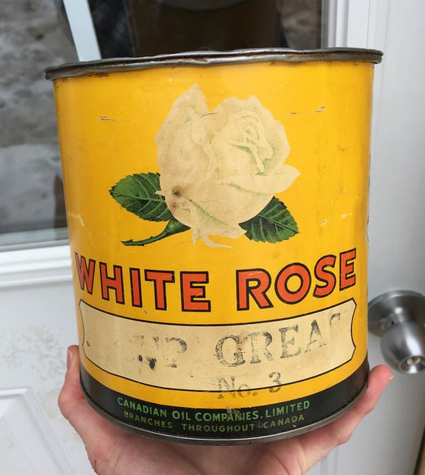 ****SPP****RARE 1930's VINTAGE WHITE ROSE CUP GREASE NO. 3 (5 LBS.) CAN