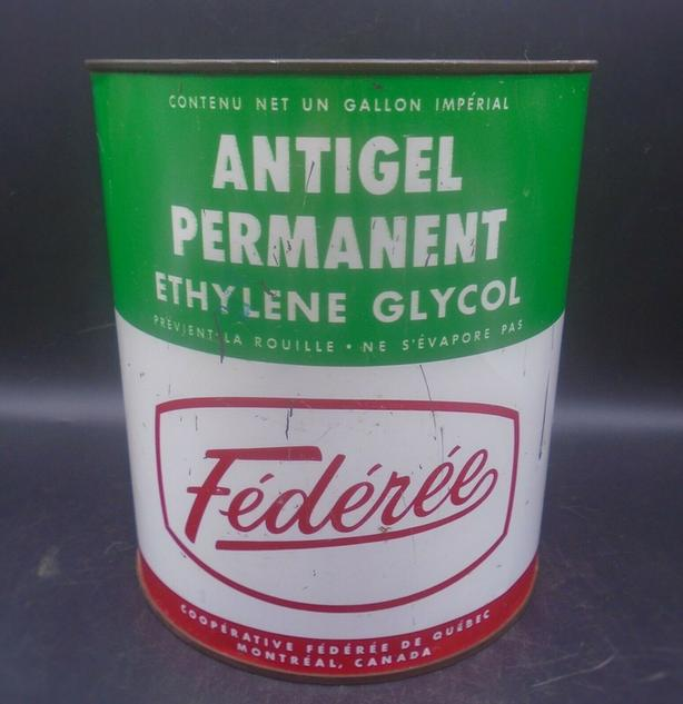 RARE 1950's VINTAGE FEDEREE ANTI-FREEZE IMPERIAL GALLON CAN