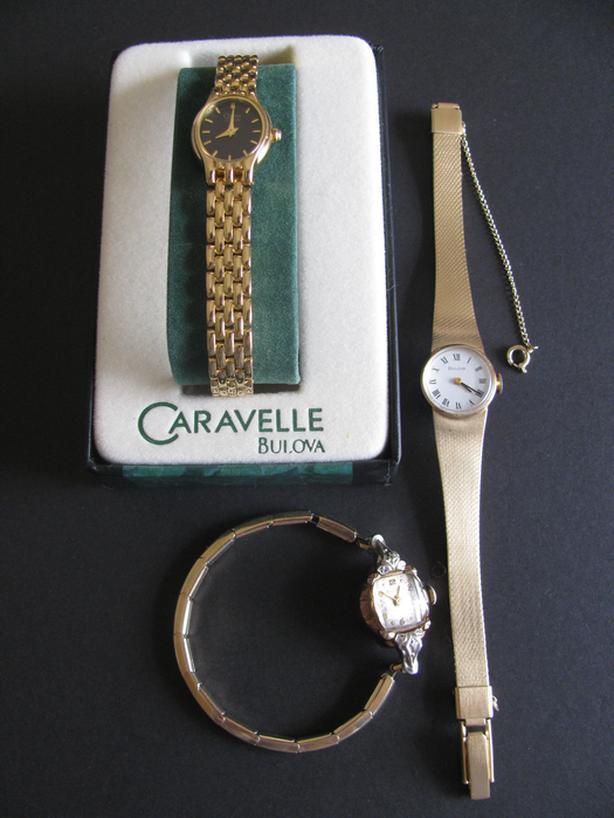 Vintage Antique Bulova Wristwatch 3 Styles 1 Working Diamond Accents