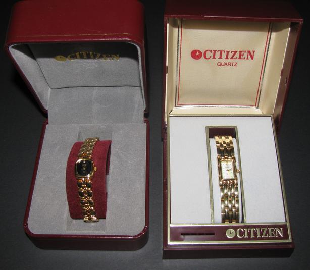 Citizen Quartz Watch Goldtone MOP Face Gemstone Org Case 2 Styles Not Running