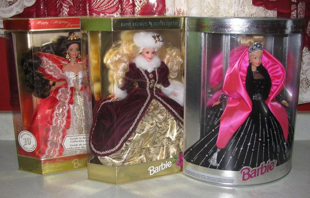 1996-1998 Holiday Barbie Doll Collection Mixed Lot of 3