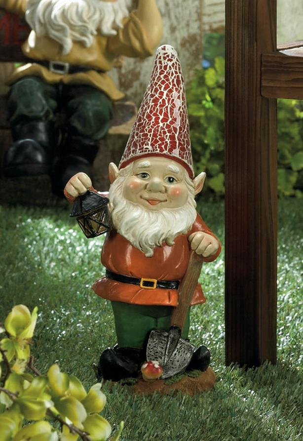Solar Gnome With Shovel Lantern & Red Light-Up Hat Brand New
