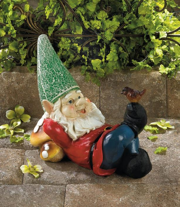 Solar Gnome Statue Yard Ornament Light-Up Hat & Bird Accent Brand New