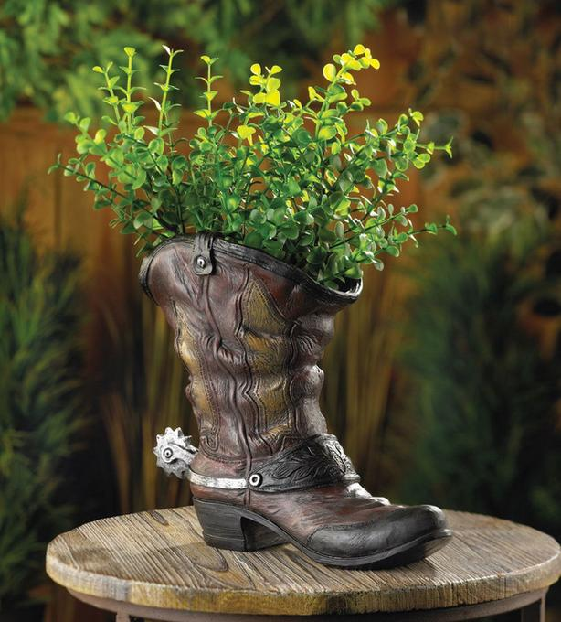 Country Western Cowboy Boot Flowerpot Planter Vase Spur Accent NEW