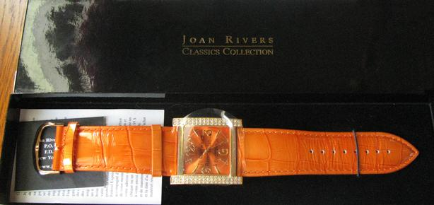 Joan Rivers Watch Rhinestone Accents Leather Strap Orange Unused