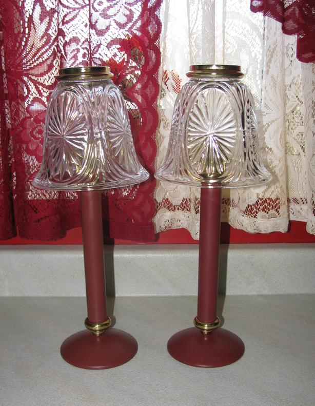 Partylite Spring Loaded Burgundy Red Candle Lamp Stratford 2Lot RARE