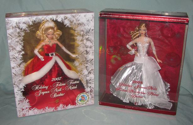2007 & 2008 Collectible Holiday Barbie Doll 2 Lot Mixed