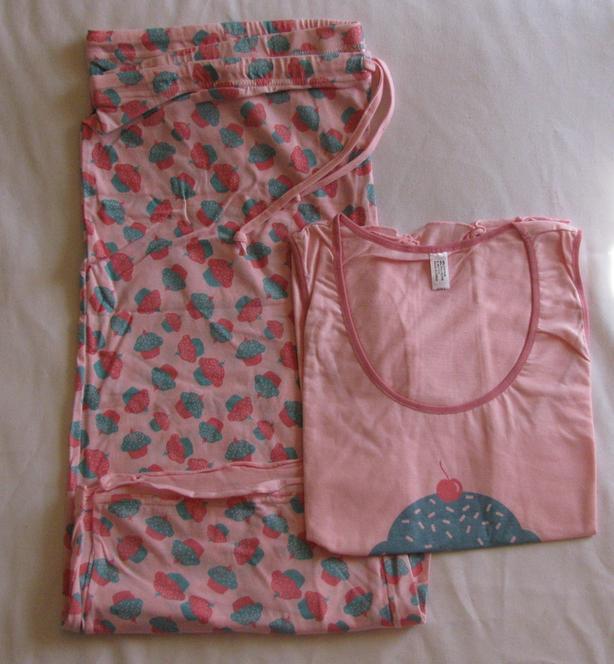 2PC Pink Print Pajama Lounge Set Tank Top Capri Sleep Pant Choose Size