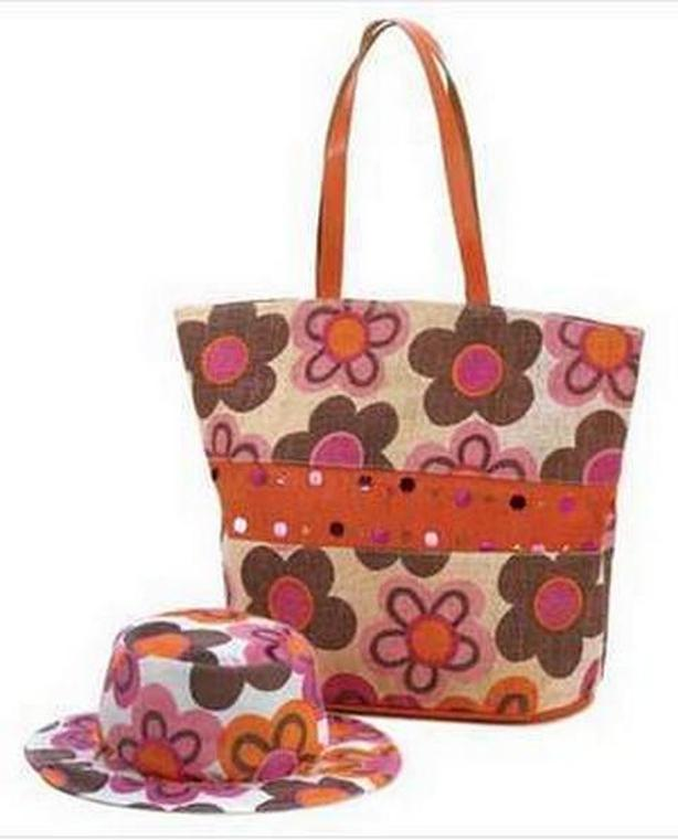 Fun & Splashly Multi-Colored Retro Floral Hat & Tote Bag Set Brand New