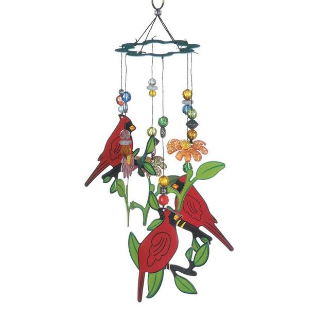 Cardinal Bird Metal Windchime with Bead Accents Brand New