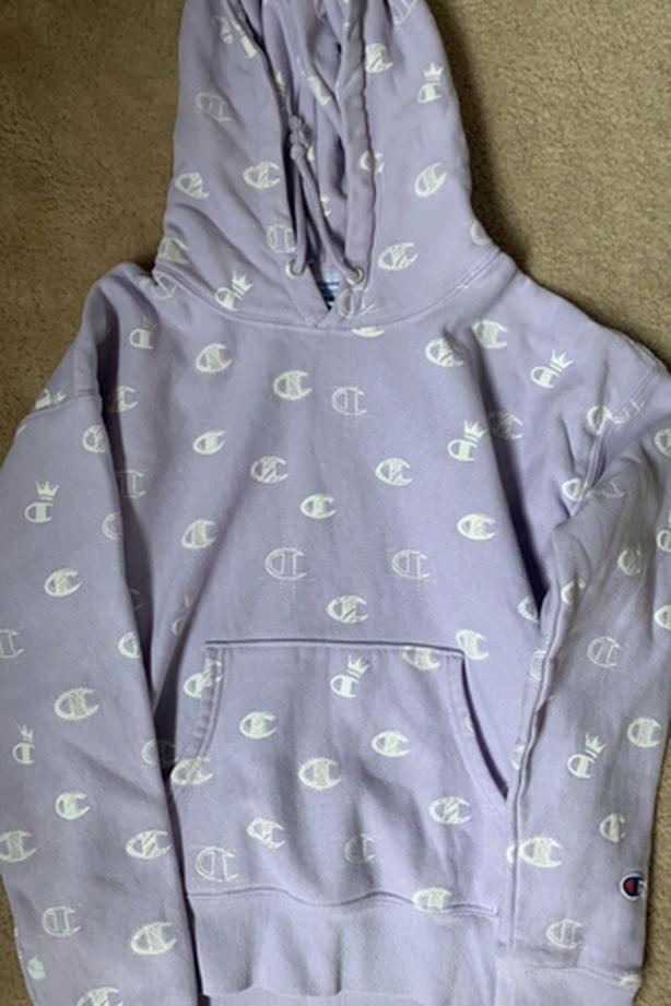 reverse weave pastel purple champion hoodie
