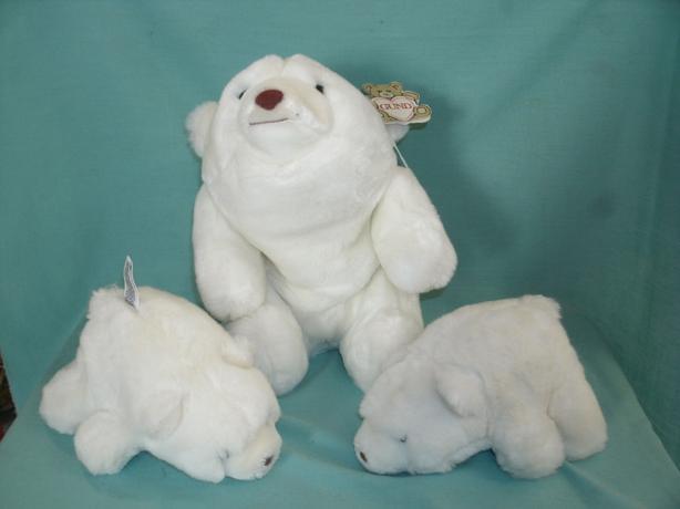 Polar Bear & Cubs - White Snuff Bear & 2 Snuffles Bears GUND