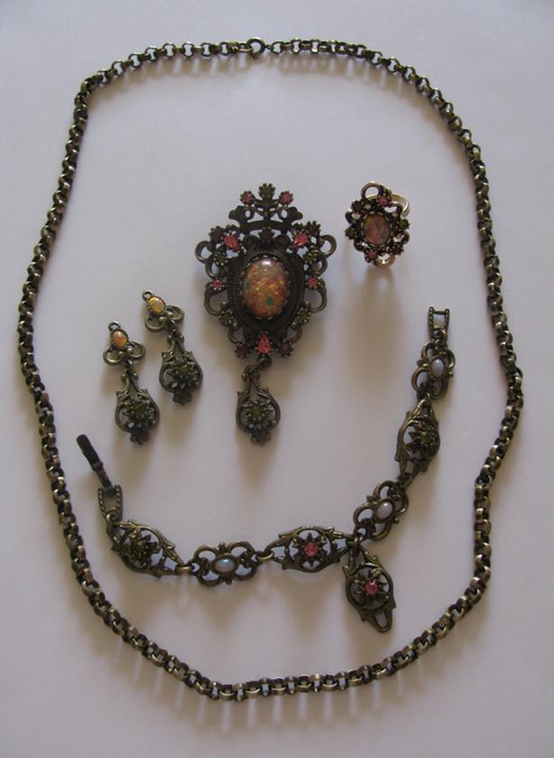 Vintage Sarah Coventry Canada Contessa Brooch Pendant Bracelet ER Chain & Ring