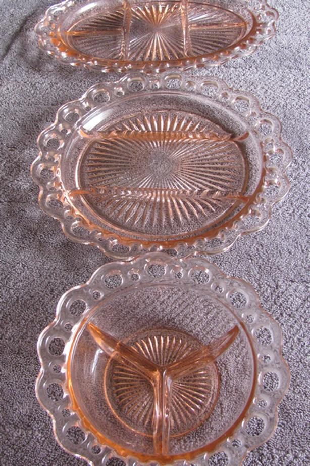 Pink Depression Glass Old Colony Open Lace Edge Divided Bowl Plate Platter 3PC