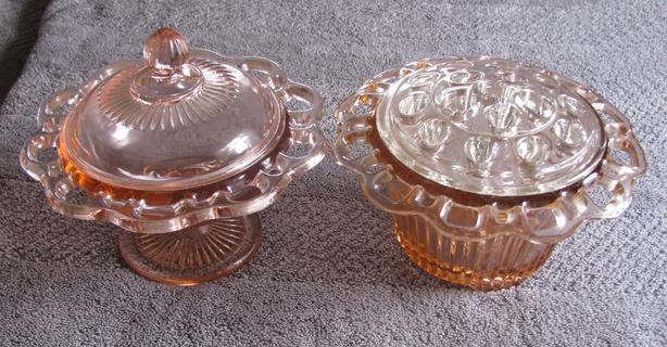 Pink Depression Glass Old Colony Open Lace Edge Compote & Flower Frog 2 Lot Mix