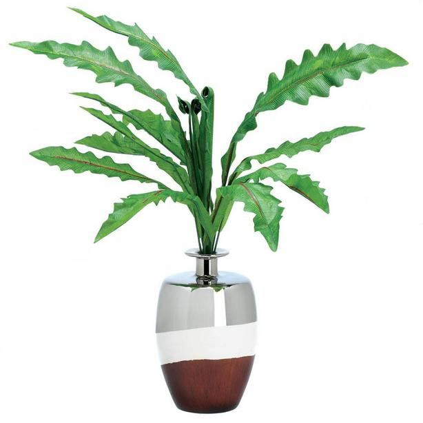 Artificial Fabric Plant Arrangement in Ceramic Vase 3 Lot