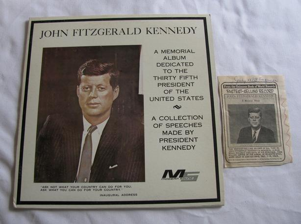 John F Kennedy Collection of Speeches Memorial Album Record & Enquirer Excerpt
