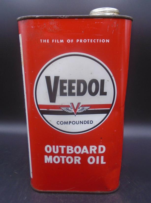 VINTAGE 1950's VEEDOL OUTBOARD MOTOR OIL IMPERIAL QUART CAN