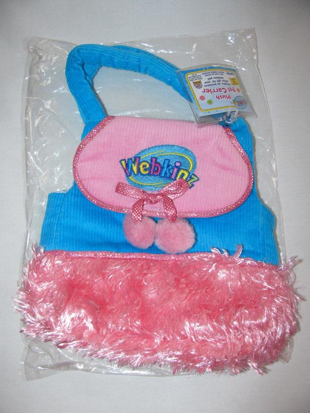 Ganz Webkinz Plush Blue & Pink Pet Carrier Purse NEW Sealed Free Online Code