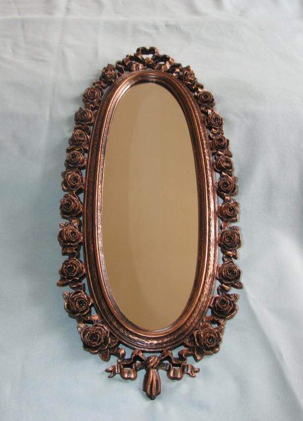 Antique 1970 Coppercraft Oval Wall Mirror with Sculpted Rose Flower Frame RARE