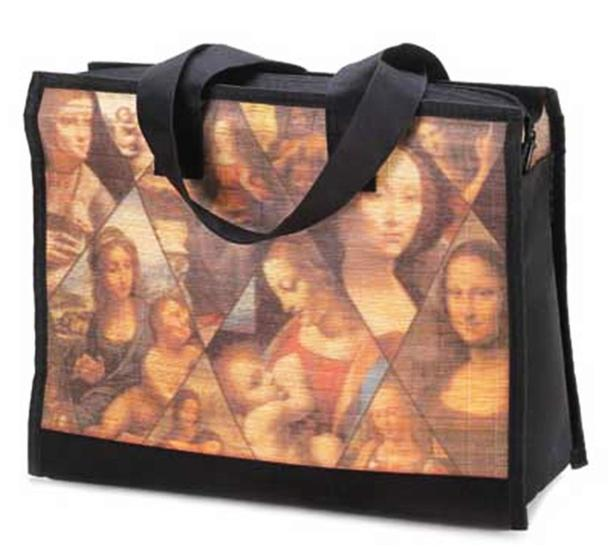 Renaissance Portrait Zippered Shoulder Tote Shopping Bag Purse Bamboo Slats NEW
