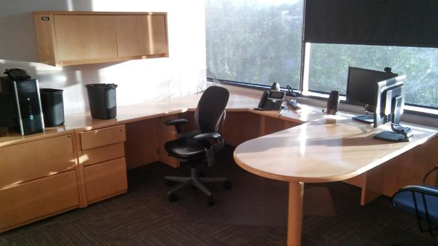 Full Custom Built Office Unit with Desk, Drawers, and Cabinets