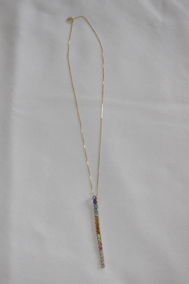 14K Yellow Gold Multi-Gemstone Diamond Pendant Necklace Unworn