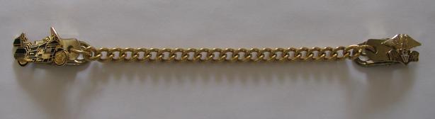 Vintage 1980's Vest Extender Chain Clip with Goldwing Motorcycle & Emblem Unisex