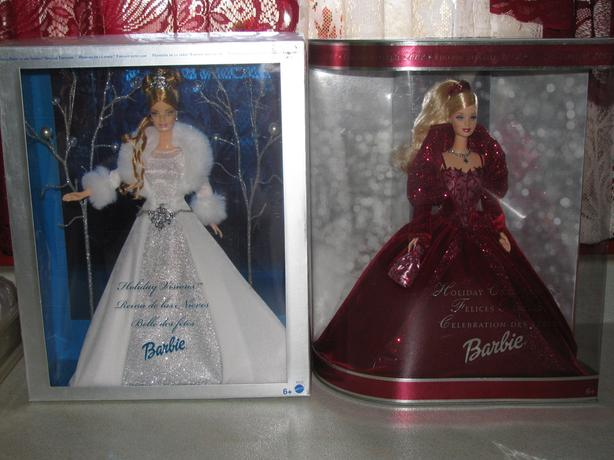 2002 & 2003 Holiday Barbie Silver Winter Fantasy & Burgundy Red Edition