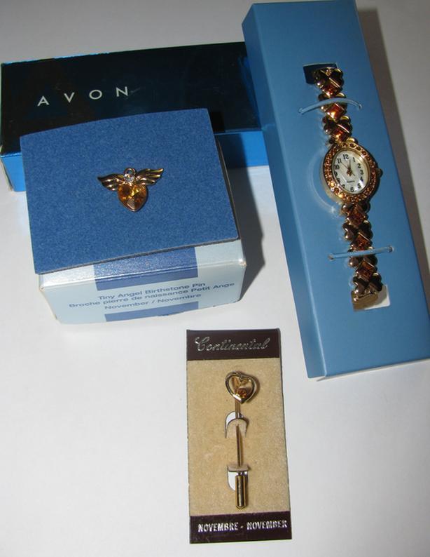 Avon November Birthstone Link Watch Angel Pin & Rhinestone Stickpin Unworn 3PC