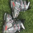 Women's ski boots and ski board