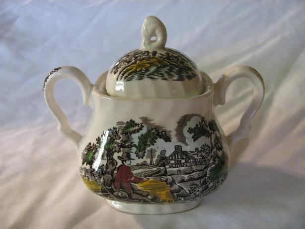 Vintage Myott Sugar Bowl with Lid The Hunter Made in England RARE