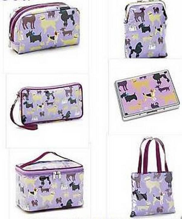 Purple Tote Cosmetic Bag Train Case Coin Wallet Clutch Purse Card Case Set 6PC