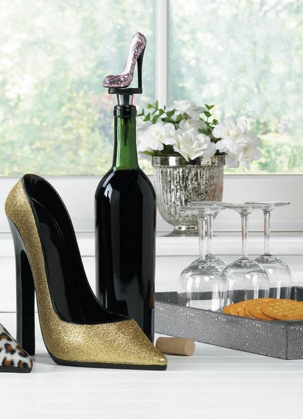 Sparkling High Heel Shoe Wine Bottle Holder & Stopper 2PC Brand New