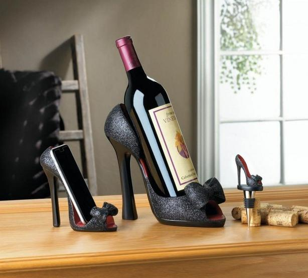 Black High Heel Shoe Wine Bottle Stopper Phone Holder 4PC Mix New