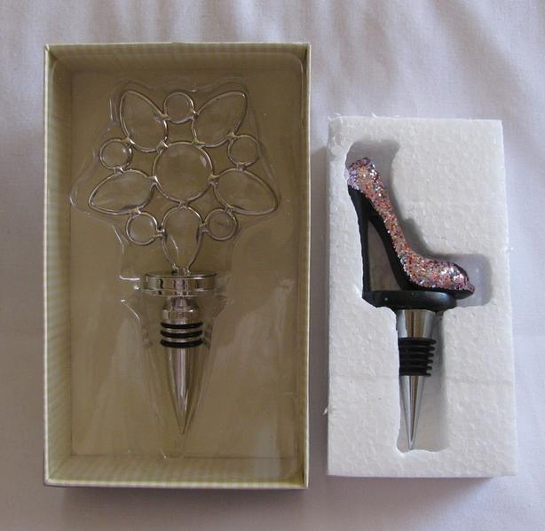 Wine Bottle Stopper Stunning Leaded Crystal Glitter High Heel 2 Different New