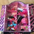 Barbie Doll house, 10 dolls, 2 cars, horse and wardrobe