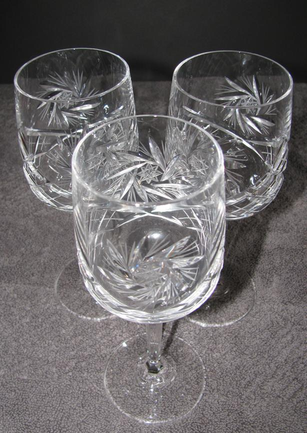 "Vintage Pinwheel Crystal Stemware Wine Glass 7"" Tall 3 Lot"