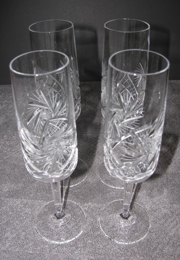 "Vintage Pinwheel Crystal Stemware Champagne Flute 8.75"" Tall 4 Lot"