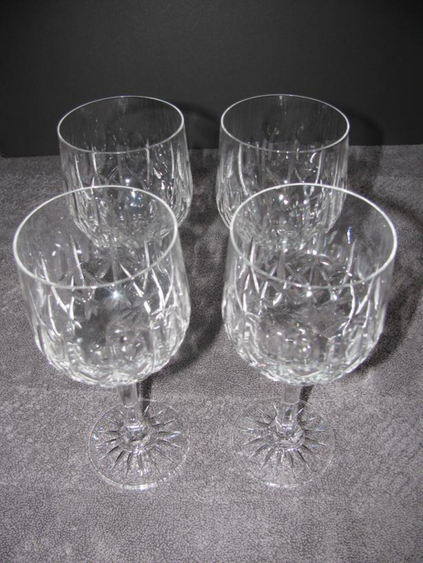 "Vintage Crystal Stemware Wine Glass Water Goblet 7"" Tall 4 Lot"