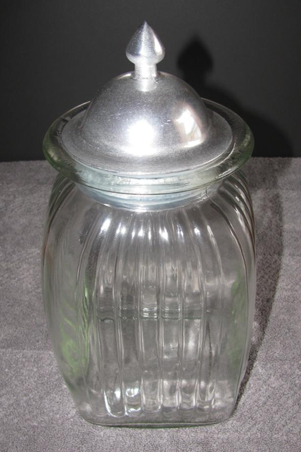 Large Clear Glass Jar Storage Container with Airtight Metal Lid