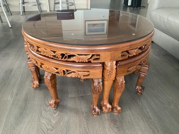 Coffee Table / Tea Table with 4 nesting servers