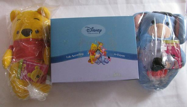 Child Safe Disney Plush Winnie Pooh Eeyore & Collectible Photo Frame 3PC Mix NEW