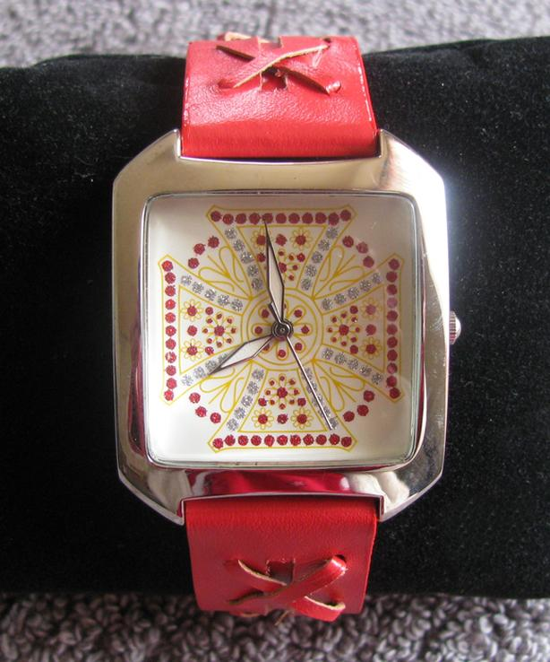 Vintage Rampage Wristwatch Rhinestone Accents Red Leather Strap
