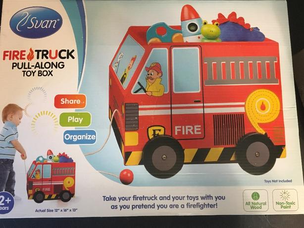 pull along fire truck toy box
